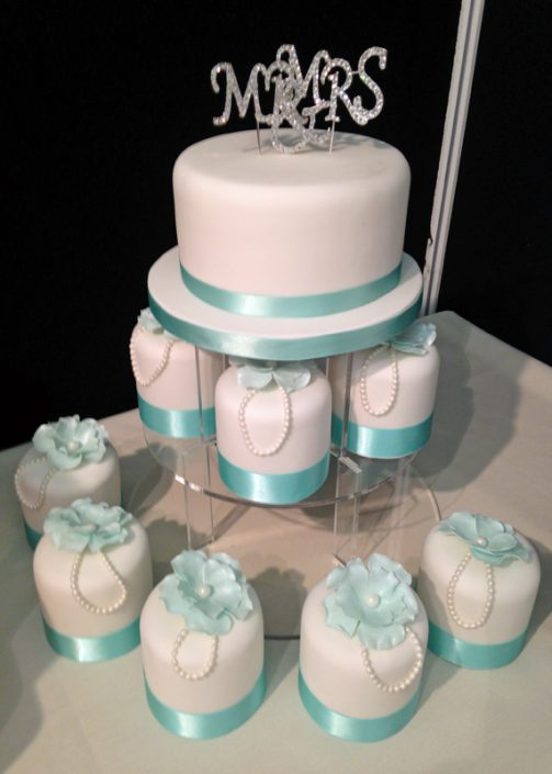 Tiffany Blue Wedding Mini Cake Tower