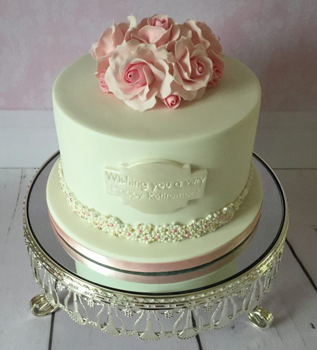 Roses & Pearls Retirement Cake