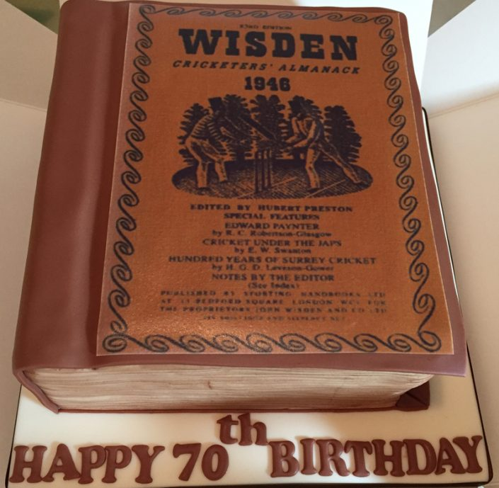 Cricket Almanac 70th Birthday Cake