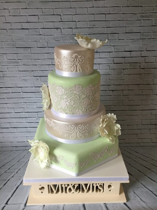 Mint & Pearl Lace Hexagon Wedding Cake