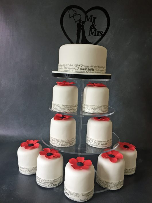 Red & Black Wedding Mini Cake Tower