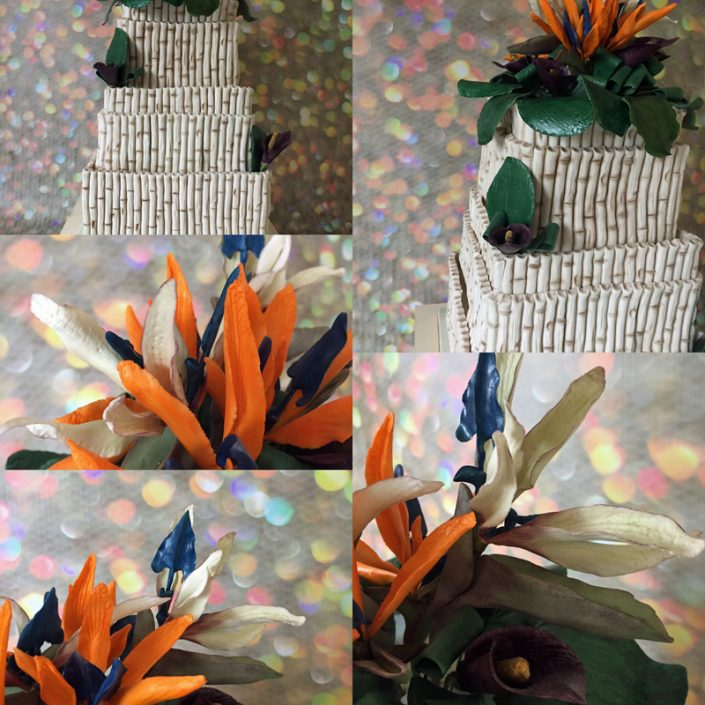 Tropical Birds of Paradise Wedding Cake