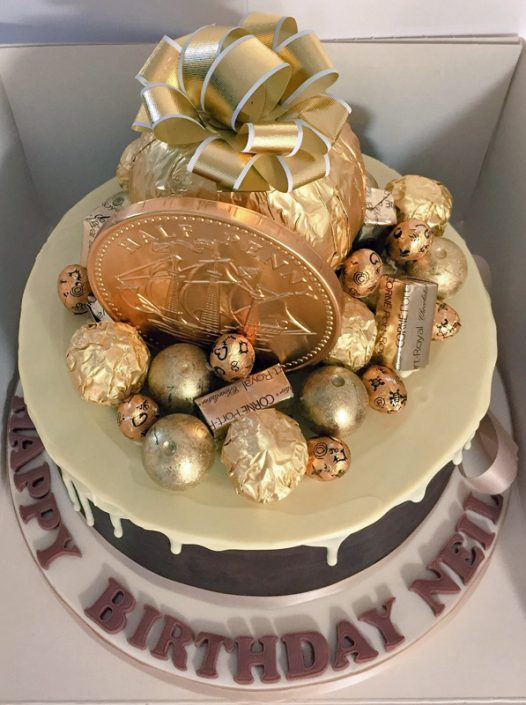 Gold & Chocolate Drip Cake