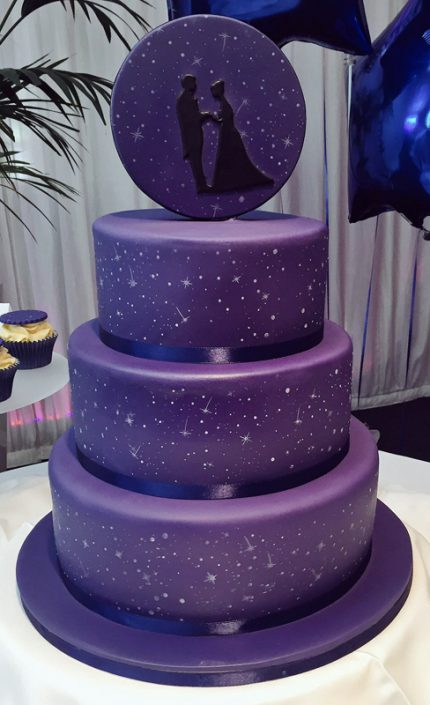 Night Sky Bride & Groom Silhouette Wedding Cake