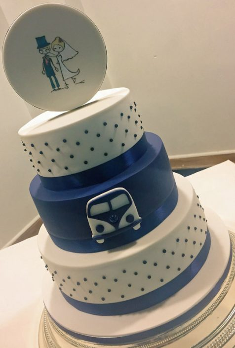 Volkswagen Camper Van Wedding Cake with Hand Painted Plaque
