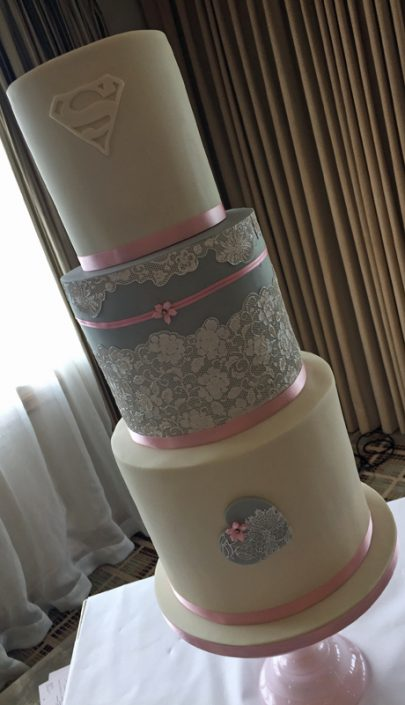 Baby Pink & Grey Lace Hearts Wedding Cake