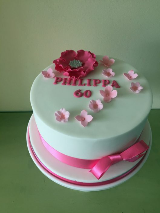 Pink Flowers 60th Cake