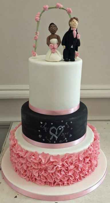 Pink Ruffles & Chalkboard Effect Wedding Cake