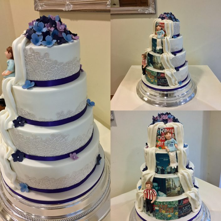 Music & Football Reveal Wedding Cake