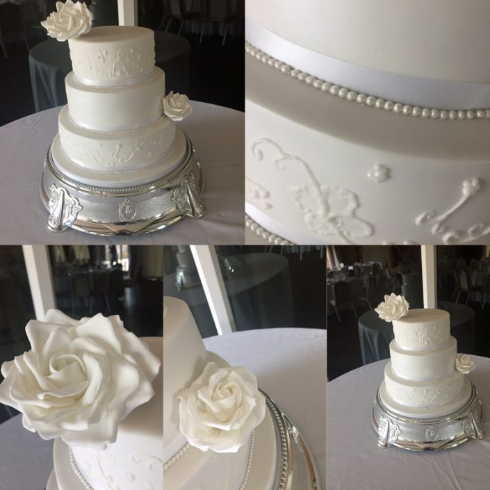 White on White Classic Wedding Cake