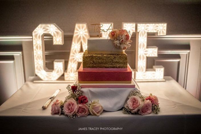Gold Sequin & Pink Watercolour Wedding Cake