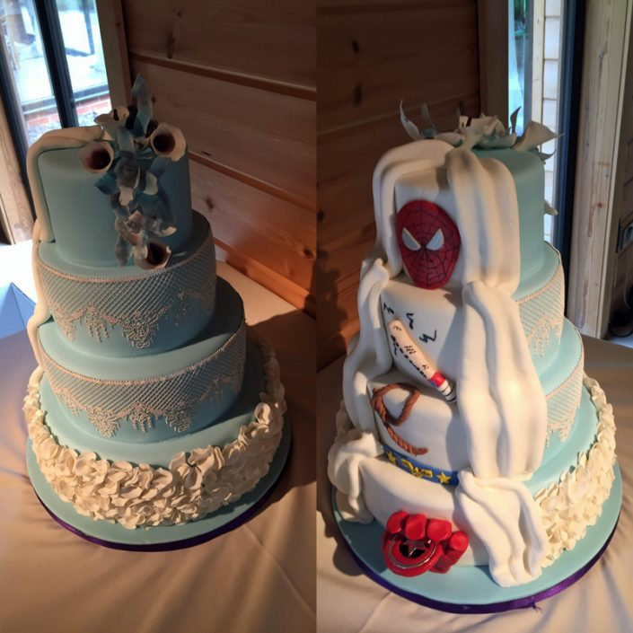 Superhero & Ruffles Reveal Wedding Cake