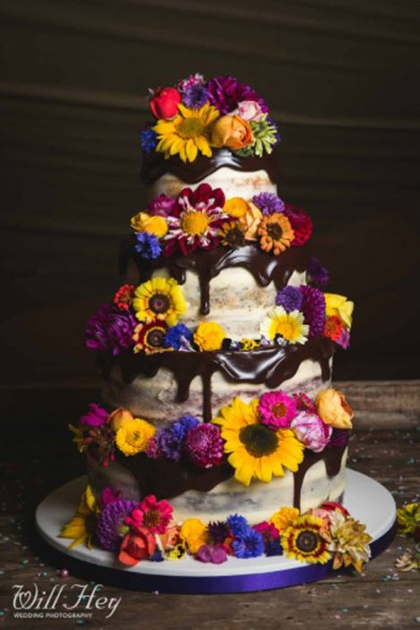 Semi Naked Wedding Caked with Dark Chocolate Drip & Edible Flowers