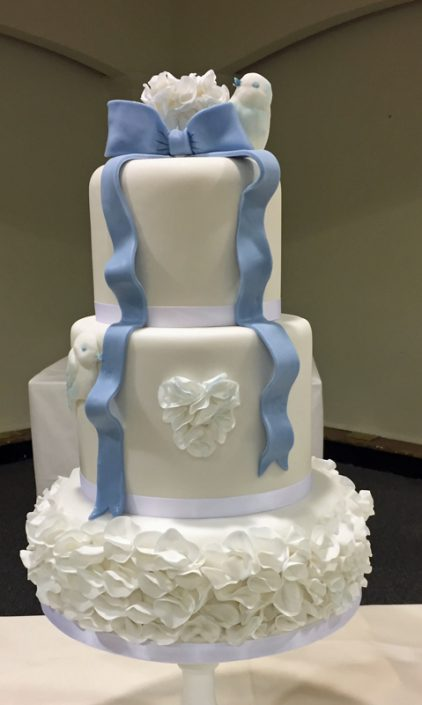 Ruffles, Hearts & Love Birds Wedding Cake