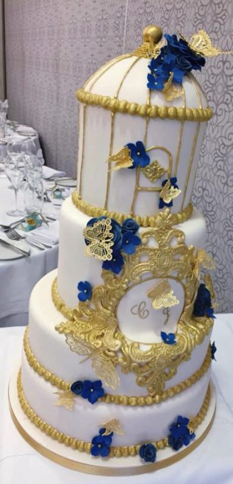 Blue & Gold Vintage Birdcage/Rococo Wedding Cake with Monogram