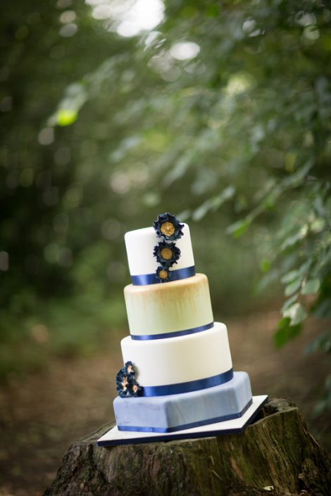 Blue Marble Hexagon Wedding Cake