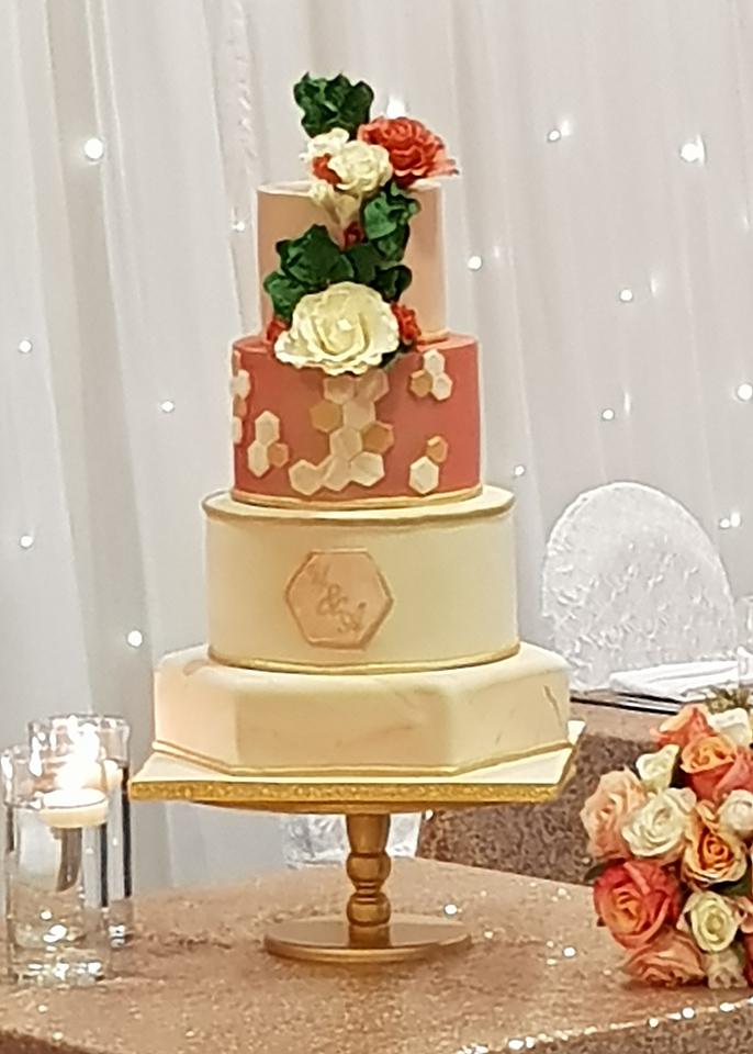Coral Wedding Cake
