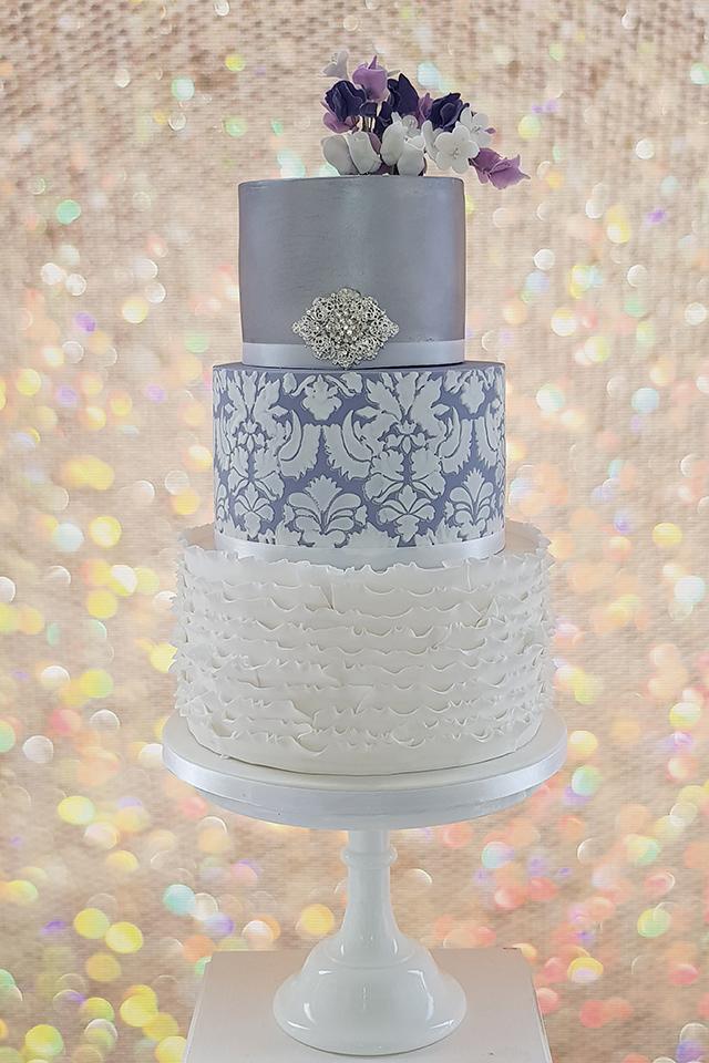 Lilac Damask Wedding Cake