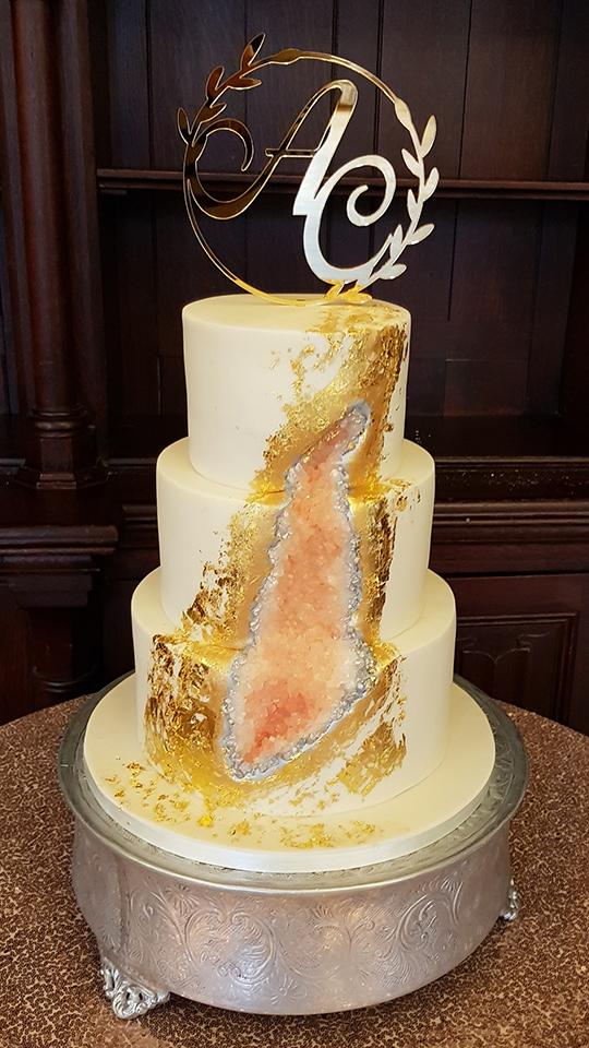 Peach Geode Wedding Cake