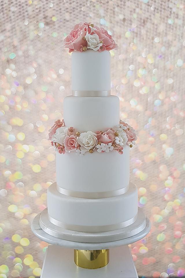 Peaches & Cream Wedding Cake