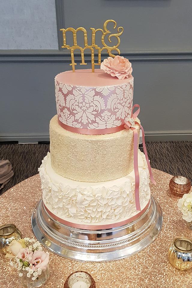 Stencil & Sequins Wedding Cake